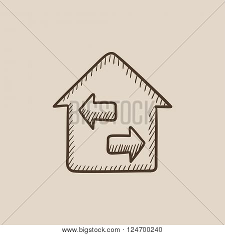 Property resale sketch icon.