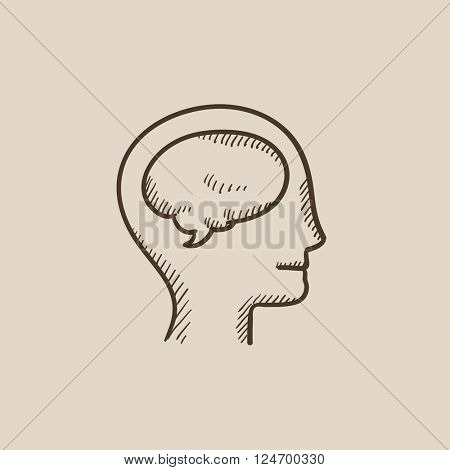 Human head with brain sketch icon.