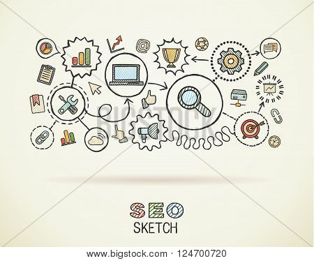 SEO hand draw integrated icons set on paper. Colorful vector sketch infographic illustration. Connected doodle pictograms, marketing, network, analytic, technology, optimize, interactive concept