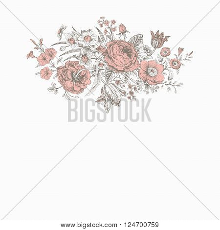 Vintage floral vector card with spring summer Victorian bouquet of flowers. Coral roses anemones tulips forget-me petunias on a gray background.