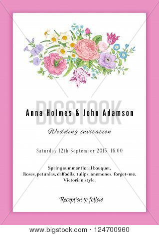 Vertical vector vintage wedding invitation. Floral bouquet with roses anemones tulips and daffodils in Victorian style on pink background.