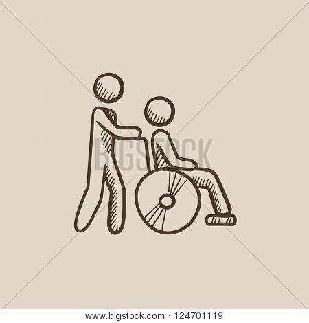 Nursing care sketch icon.