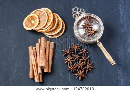 Herbal tea with dried orange,anise star and cinnamon