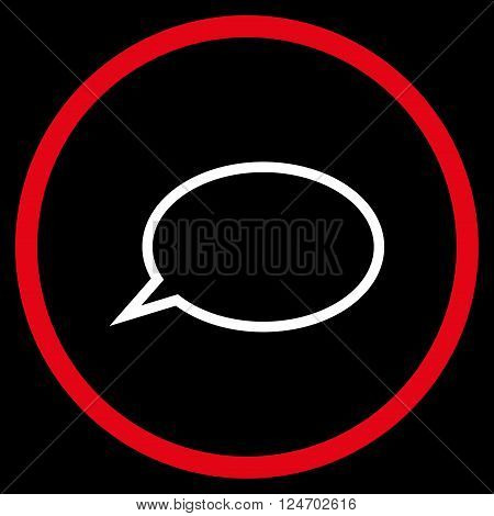 Hint Cloud vector bicolor icon. Image style is a flat icon symbol inside a circle, red and white colors, black background.