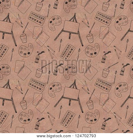 Art pattern with paints, brushes, pencils, paper and easel on kraft paper