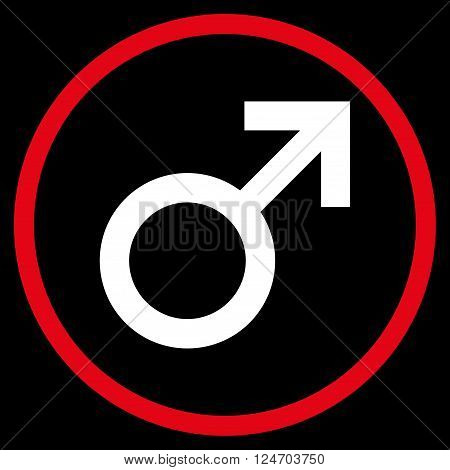 Male Symbol vector bicolor icon. Image style is a flat icon symbol inside a circle, red and white colors, black background.