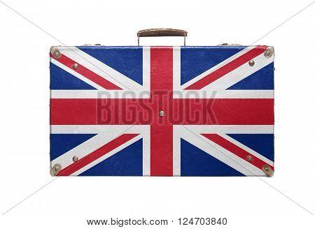 Vintage travel bag with flag of United Kingdom isolated on white background.