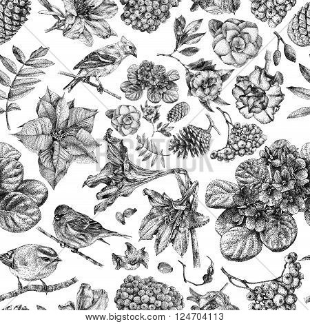 Seamless pattern with different flowers birds and plants drawn by hand with black ink. 