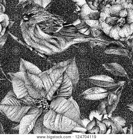 Seamless pattern with different flowers, birds and plants drawn by hand with black ink. Graphic drawing, pointillism technique