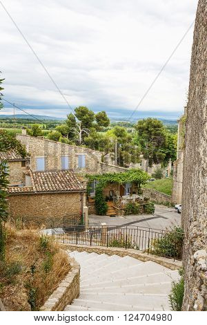View on Provence village roof and landscape