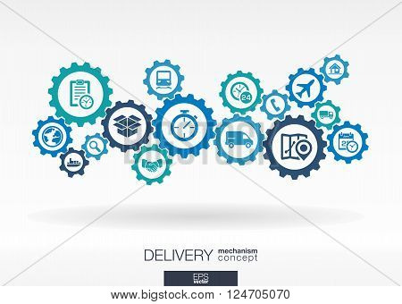 Delivery mechanism concept. Abstract background with connected gears and icons for logistic, service, shipping, distribution, transport, market, communicate concepts. Vector interactive illustration