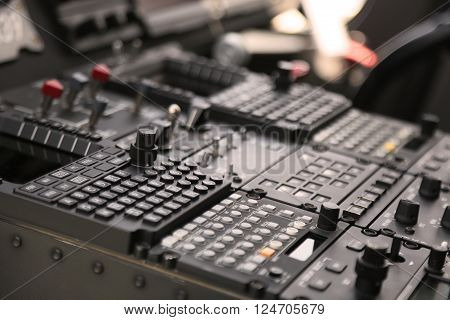 The pilots' control panel inside a passenger airplane, Control panel of airplane.