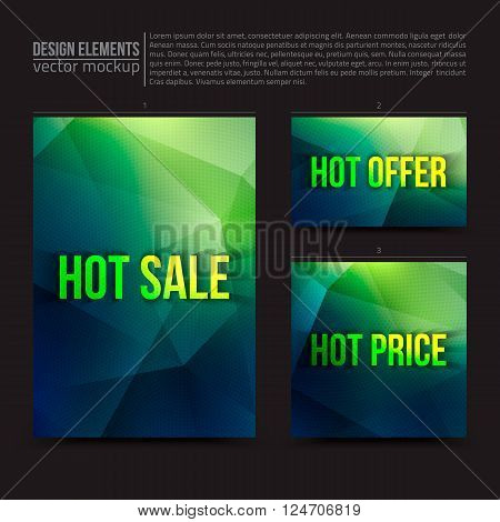 Vector design elements: flayer, card, banner.  Hot sale, hot offer, hot price. Vector design template. Vector typography design. Digital marketing. Vector geometric background. Business vector