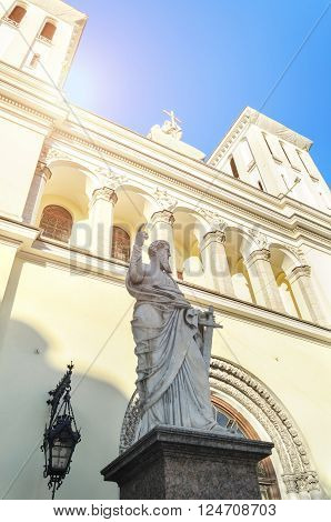 Statue of St. Paul at the entrance of the Lutheran Church of Saints Peter and Paul founded in 1838 in St. Petersburg Russia