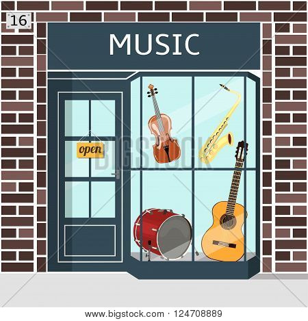 Music shop's building facade of brown brick. Violin, guitar, saxophone and drum in the window. EPS 10 vector.