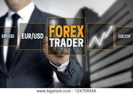 Forex trader touchscreen is operated by businessman.