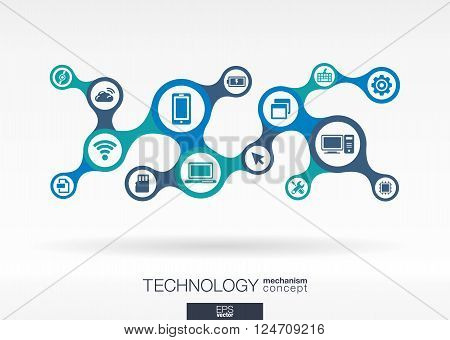 Technology. Growth abstract background with integrated metaball, connected icons for digital, internet, network, connect, communicate, social media and global concepts. Vector interactive illustration