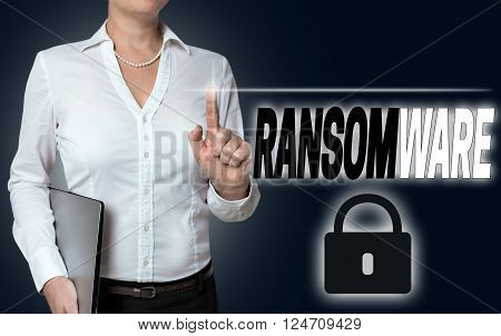 ransomware touchscreen is of businesswoman serviced background