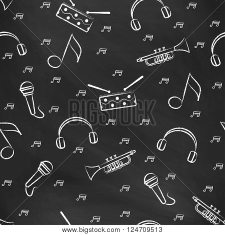 Seamless pattern black chalk board with white children's chalk drawings. Hand-drawn style. Seamless vector wallpaper with the image of  drum, microphone, pipe, headphones and note