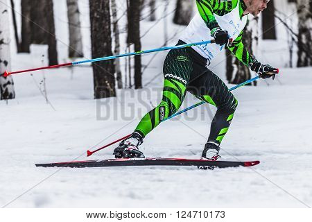 Kyshtym, Russia -  March 26, 2016: skiers male athletes running through woods side view during Championship on cross country skiing