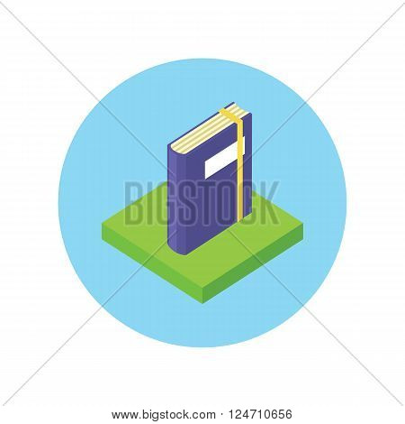 Isometric book logo icon flat style design. 3d Book logo. New book cover, modern book, novel and book store, library and book spine, paper and information, literature education vector illustration