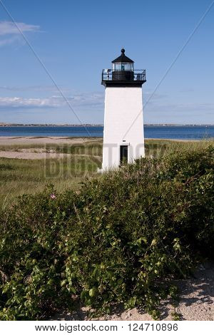 Long Point lighthouse in summer on the Cape Cod National Seashore.