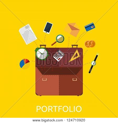Portfolio with coin watch and document data. Portfolio for business document paper and phone, clock coins and office supplies, credit card envelope and telephone in briefcase, vector illustration