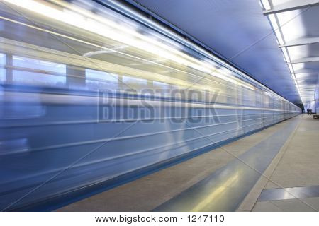 Moving Train On The Subway Station