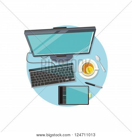 Design graphic work space flat. Workplace technology and web design studio, graphic elements computer drawing digital vector illustration. Tools tablet for drawing and cup of tea near computer monitor