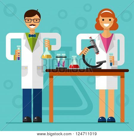 Vector flat style illustration of scientist smiling girl and boy in laboratory are holding flasks and making research. Chemistry laboratory research concept.