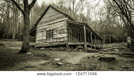 Smoky Mountain Cabin. The Ogle Historical Cabin on the Roaring Fork Motor Nature Trail Great Smoky Mountains National Park. This is a public owned structure in a national park and not private property