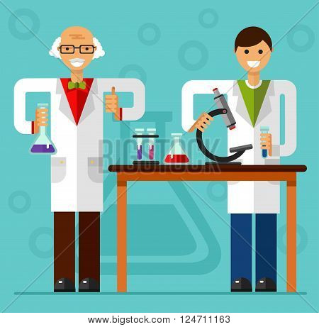 Vector flat style illustration of scientist smiling old men and boy in laboratory are holding flasks and making research. Chemistry laboratory research concept.