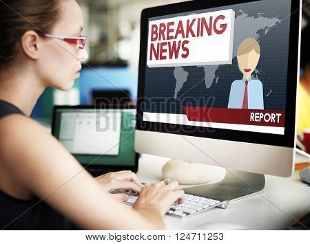 Breaking News Article Broadcast Headline Journal Concept