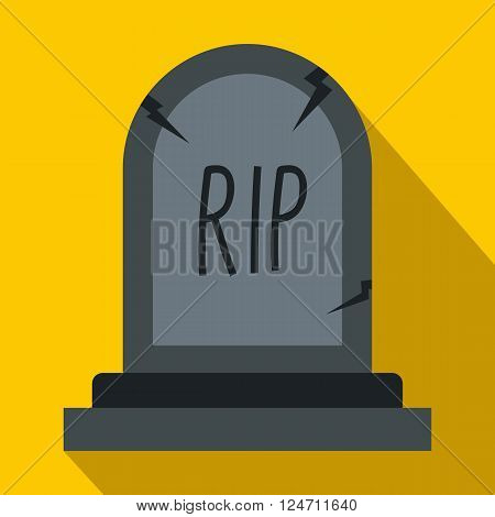Grey grave icon in flat style on yellow background