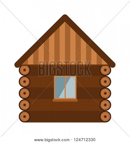 Wooden house architecture design estate old wall with glass window flat vector illustration.