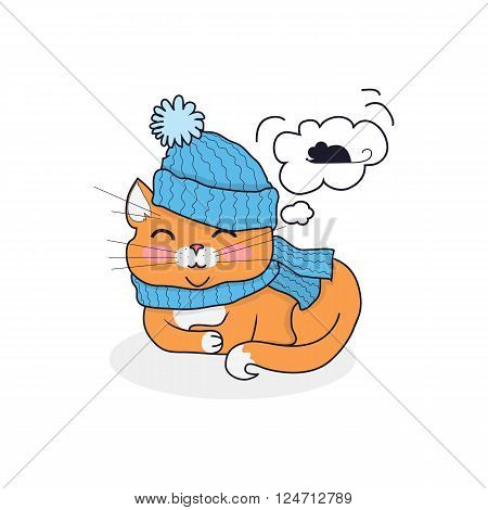Sleeping cat in hat and scarf design. Kitten sleep or sleeping, cat cute animal cartoon pet, domestic cat sleep in hat isolated dreaming about the mouse, kitten sleeping. Vector illustration
