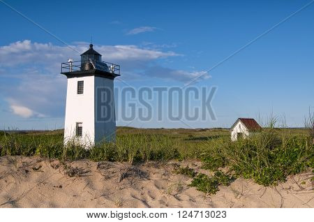 Wood End lighthouse is a favorite hike by tourists from Provincetown, on Cape Cod.