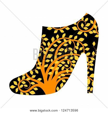 Ankle boot filled with golden pattern on black background