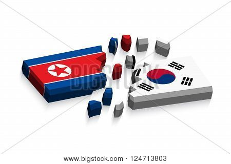 Flag of north korea and south korea 3D ( damaged flags ) ( three dimension vector )