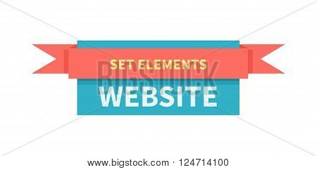 Badge ribbon website element isolated. Web element for a website, badge emblem with red ribbon and text set elements isolated on white background. Template for page internet. Vector illustration