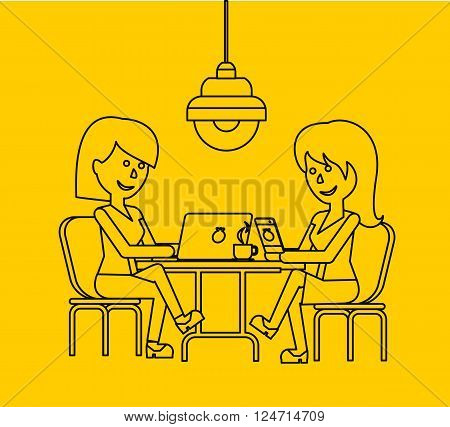 Woman work with laptop and smartphone. Woman and work, business woman work with smartphone, work with laptop, business phone, work technology mobile, working businesswoman with device illustration