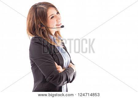 Pretty Telemarketer Enjoying Her Work