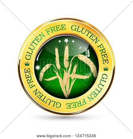 Gluten Free golden green button, icon, label. Contains realistic wheat.