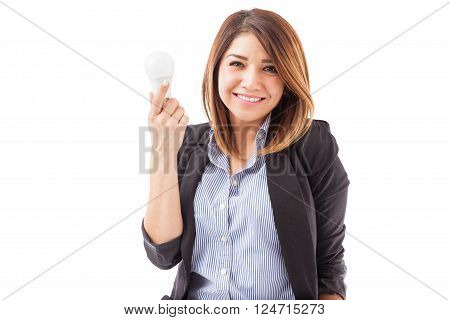 Cute Girl In A Suit With An Led Light Bulb