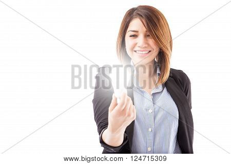 Businesswoman Looking At An Led Light Bulb
