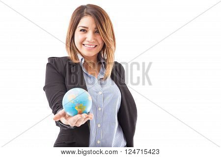 Travel Agency Representative With A Globe