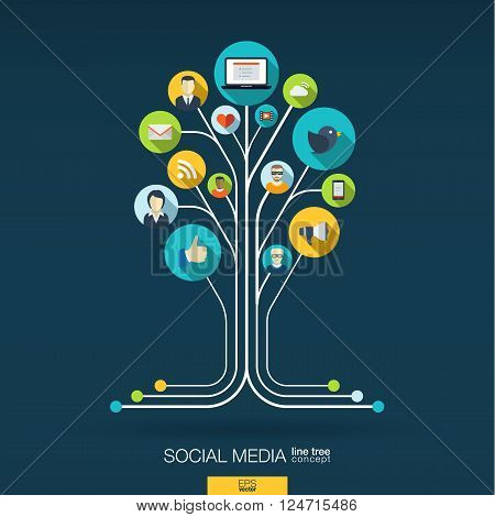 Abstract social media background with lines, connected circles, integrated flat icons. Growth tree concept with network, computer, technology, speech bubble icon. Vector interactive illustration.