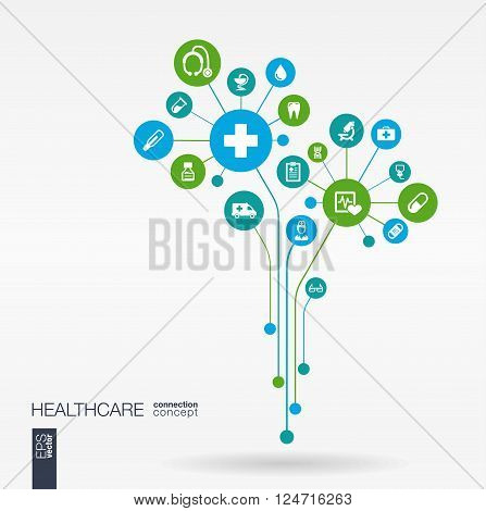 Abstract medicine background with lines, connected circles, integrated flat icons. Growth flower concept with medical, health, care, thermometer and cross icon. Vector interactive illustration.