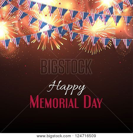 Happy Memorial Day banner. Background with fireworks and with a garland from American flags. American Memorial Day celebration poster, vector illustration.