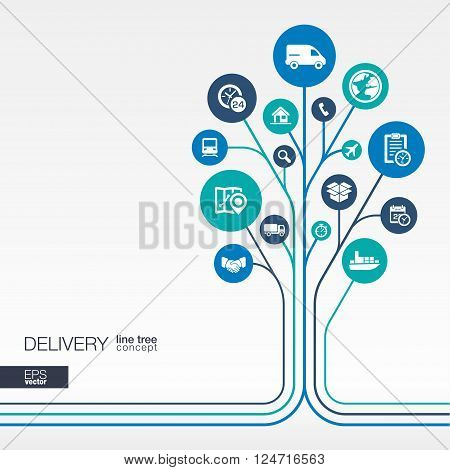 Abstract Delivery background - connected circles, integrated flat icons. Growth tree idea with logistic, service, shipping, distribution, transport, market concepts. Vector interactive illustration